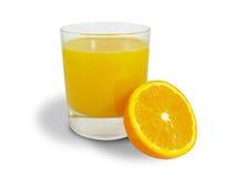Orange juice. With half orange isolated royalty free stock photo