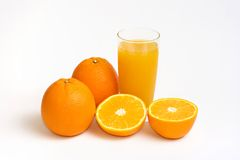 Orange juice. On a white background stock photography
