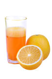 Orange juice. With orange, isolated background with clipping path Stock Images