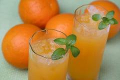 Orange juice. Fresh orange juice with ice Stock Photo