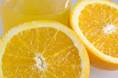Orange juice. Nutrient orange juice on glass Royalty Free Stock Images