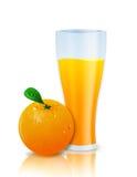 Orange juice. Glass of orange juice and tempting juicy orange against white background Royalty Free Stock Image