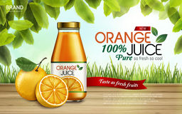 Orange juice ad. Orange juice contained in glass bottles with sliced oranges, farm background, 3d illustration Stock Illustration