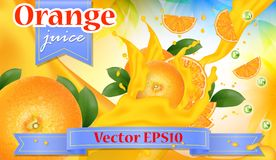 Orange juice advertisement. Splashing juicy sliced fruits. Reali. Stic 3d splash package design. Advertising Template, Promotion Banner. Vector Illustration Vector Illustration
