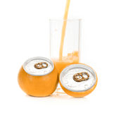 Orange juice aluminum can Stock Photos