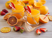 Orange juice and berry Stock Photo