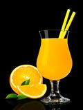 Orange juice on black Royalty Free Stock Photo