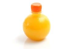 Orange juice in bottle isolated on white Stock Photo