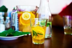 Orange juice and bottle with water Royalty Free Stock Photo