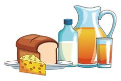 Orange juice and bread. Milk cheese vector illustration graphic design vector illustration