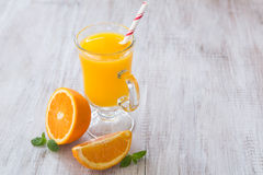 Orange Juice Breakfast Drink With Mint Leaves Royalty Free Stock Photos