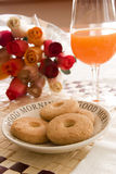 Orange juice and buiscuits. Morning table Royalty Free Stock Images