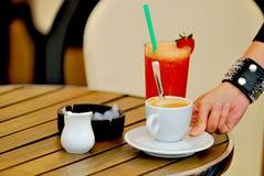 Orange juice with cafee and milk. Serving orange juice with cafee and milk Royalty Free Stock Image