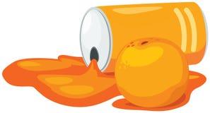 Orange juice can with orange Stock Photography