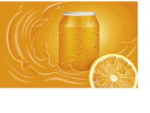 Orange juice can, slice and orange splash with many juice drops. Orange juice can, slice and orange splash many juice drops Stock Illustration