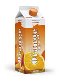 Orange juice carton cardboard box pack isolated on white backgro. Und. 3d illustartion Stock Photos