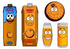 Orange juice cartoon characters Royalty Free Stock Image