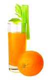 Orange juice and celery. Isolated on white Stock Image