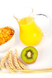Orange juice and cereals. Bowl with half kiwi on white background stock photos