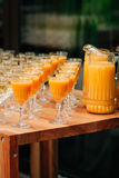 Orange juice. And champagne are on the table in glasses and decanter Stock Image