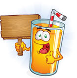 Orange Juice Character Holding a Sign Royalty Free Stock Photography