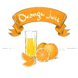 Orange juice citrus fruits with glass sketch Stock Photography