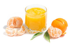 Orange juice and clementines. Isolated orange juice  with leaves on white background Stock Photos