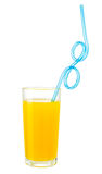 Orange juice with drink straw in glass isolated w clipping path Stock Images