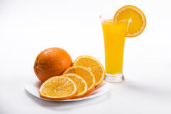 Orange juice. Drink orange tangerine white background thirst water glass glass cup Liquid firm rind slices royalty free stock photo
