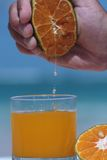 Orange juice extracted from orange fruit. To glass Stock Images