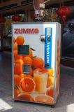 Orange juice extracting machine, Dubai, UAE Stock Photo