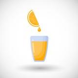 Orange juice flat icon stock illustration