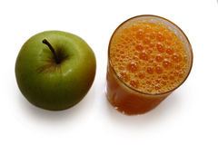 Orange juice and fresh green apple Royalty Free Stock Photo