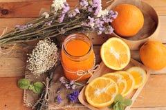 Orange juice with fresh orange fruits sliced. Royalty Free Stock Photo