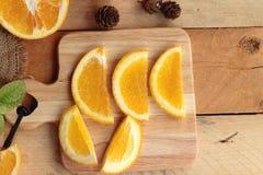 Orange juice with fresh orange fruits sliced. Royalty Free Stock Photography