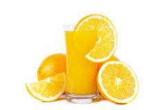 Orange juice and fresh oranges stock photo