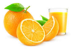 Orange juice. And fresh oranges over white background royalty free stock photography