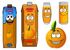 Orange juice and fruit cartoon icons Royalty Free Stock Photos