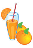 Orange juice and fruit, isolated Stock Images