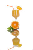 Orange juice with fruit isolated on white, full reflection Royalty Free Stock Photo