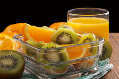 orange juice and fruit salad Royalty Free Stock Photography