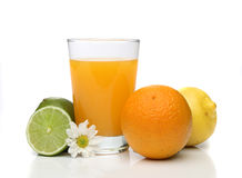 Orange juice with fruits Stock Photography