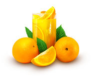 Orange juice with fruits. And green leafs isolated Royalty Free Stock Images