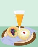 Orange juice and fruits Stock Photos