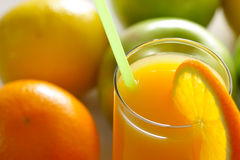 Orange juice and fruits Royalty Free Stock Photos