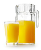 Orange juice in glass ang jug Royalty Free Stock Photo