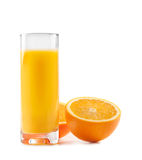 Orange juice in glass on background. royalty free stock image