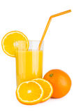 Orange juice in glass beaker with straw Royalty Free Stock Images
