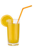 Orange juice in glass beaker with straw Stock Images
