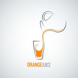 Orange juice glass bottle background Stock Photos